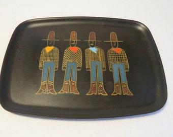 Vintage Couroc cowboy tray
