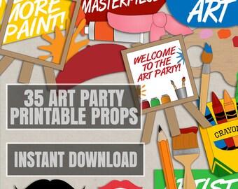35 Art Party Photobooth props, arty party photo booth prop, diy paint party props, art themed party decoration, diy art themed decor