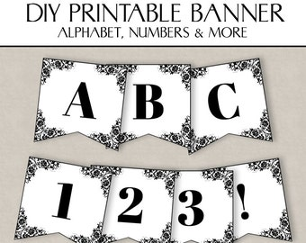 DIY Lace Banner Printable, bunting Printable for weddings, any phrase, happy birthday, lace bunting, full alphabet, numbers, custom phrase
