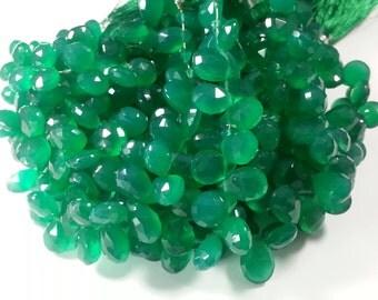 56  Briolettes,  Green Onyx Tear-Drop
