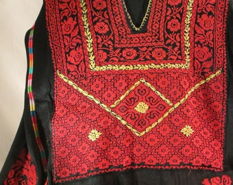 Vintage Hand Embroidered Museum-Quality Palestinian Bedouin Dress from Palestine - Featured in a Textile Book on Middle Eastern Dresses