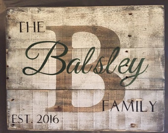 Custom Wood Name Sign, Personalized Wedding Gift, Pallet Last Name Sign, Rustic Family Est. Sign, Rustic last name Sign, COLOR