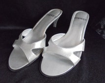 fashionable silver women's slippers/silver summer shoes