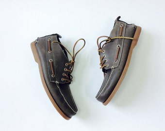 10 Mens loafers 10 deck shoes lace up mocs vintage brown leather loafers lace up leather moccasins boat shoes preppy loafer leather shoes 10