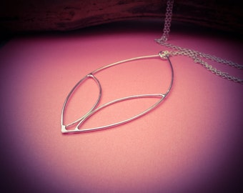 Framed leaf - lightweight stylised necklace in sterling silver