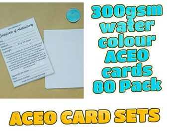 ACEO Blank Cards - 80 cards with Certificates and plastic sleeves complete set