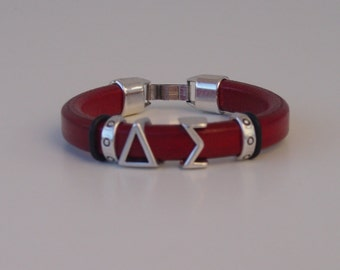 Delta Sigma Greek Sliding Letters Leather Handmade Ladies Bracelet Silver Tone Clasp Initials Alphabet Iota Theta Add one Extra Letter
