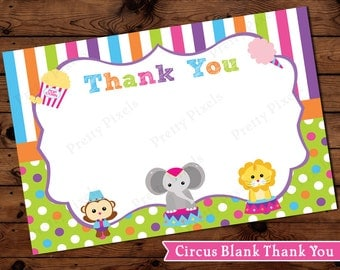 Girly Carnival Circus Thank You Card Cards Elephant Purple Instant Download Stripes Polka Dots