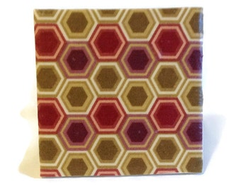 Set of 4 Red Tile Coasters - Ceramic Coaster- Home Decor - Housewares - Modern - Drink and Bar Ware - Handmade Coasters - Wedding Gift