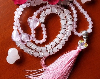 "Rose Quartz ""I am Love"" 108 Mala Beads for Meditation"