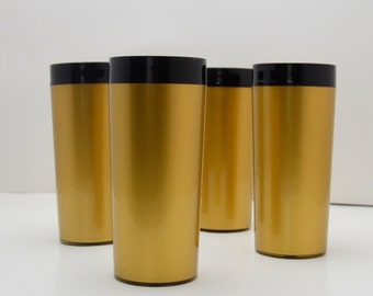 Set of 4 Vintage Gold and Black Insulated Tumblers, West Bend / NFC Tall Plastic Glasses, Mid Century Thermo Serv