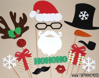Christmas Photo Booth Props - 15 piece set - GLITTER Photobooth Props - Christmas Photo Props