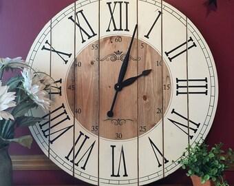 28 inch farmhouse clock rustic wall clock large wall clock unique wall clock