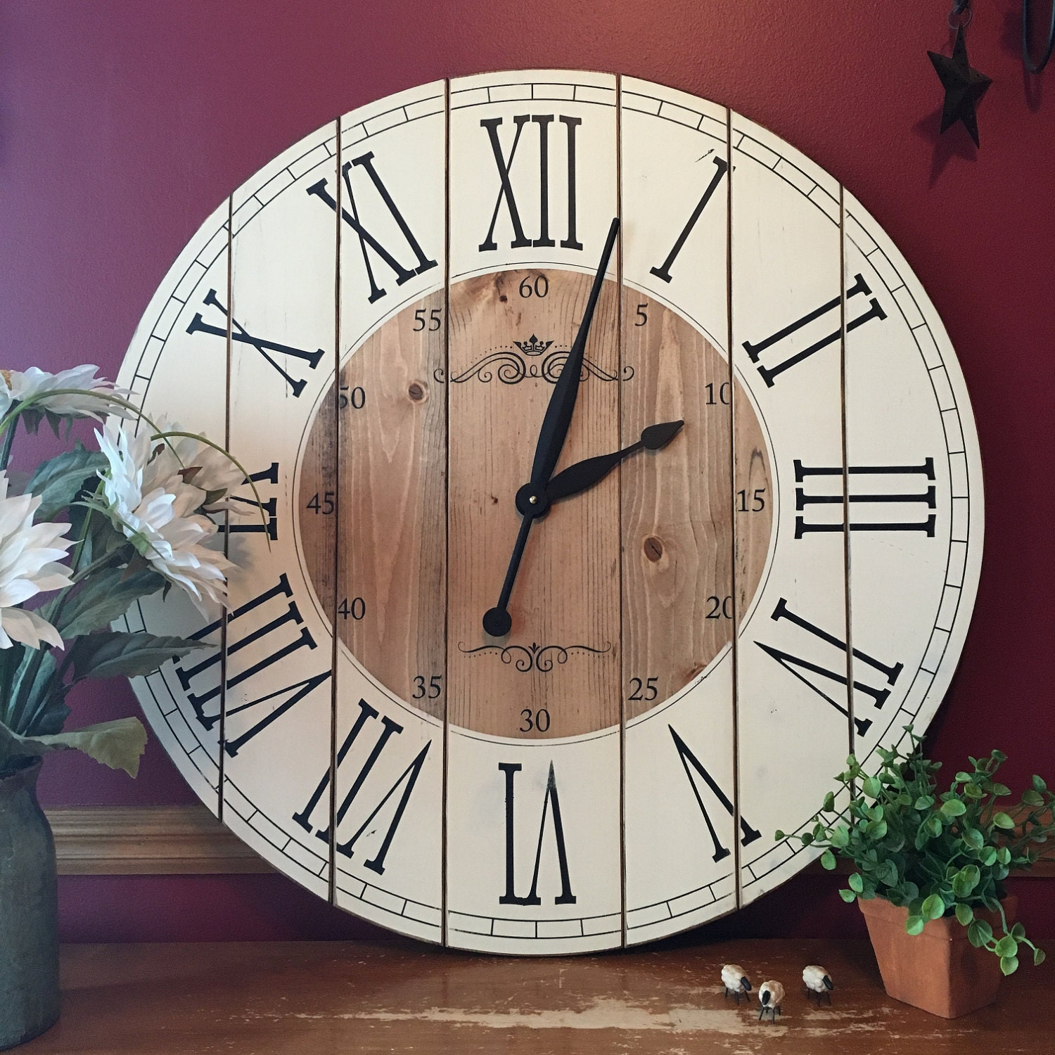 28 inch farmhouse clock rustic wall clock large wall clock zoom amipublicfo Image collections