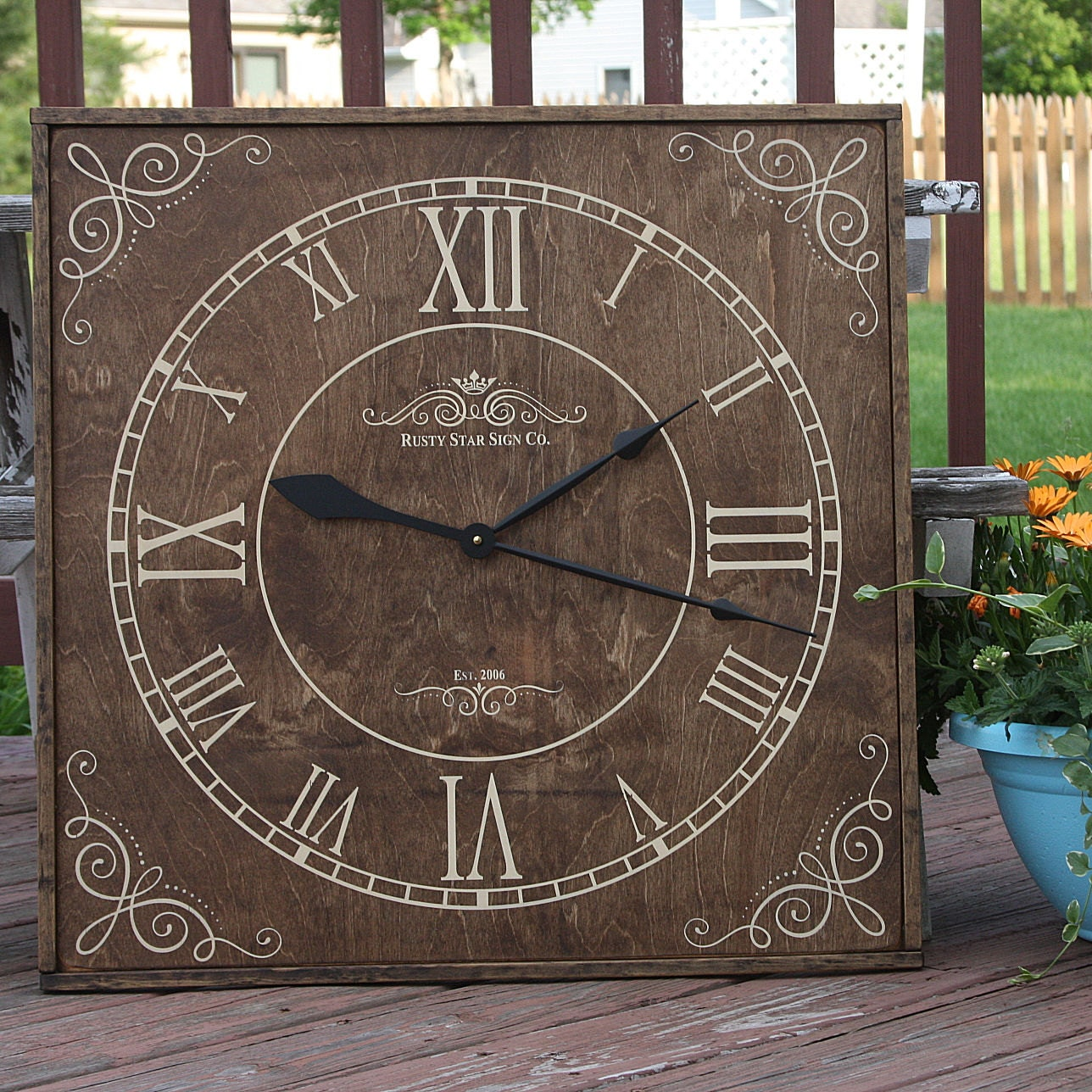 square wall clock personalized clock rustic wall clock. Black Bedroom Furniture Sets. Home Design Ideas