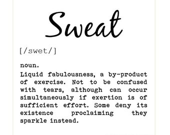 Fitness Card - Sweat, dictionary definition