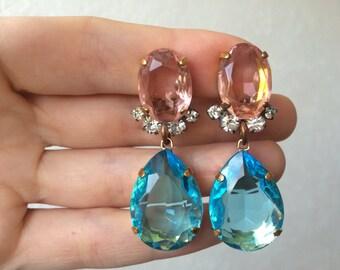Amaizing Pink Blue handmade rhinestone earrings clips from czech glass