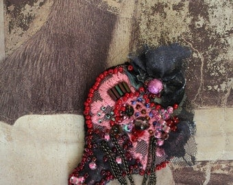 "Vintage fabric,beads,sequins,lace and chain ""Pink drop"" brooch,wearable art"