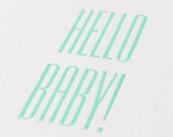 Hello Baby! Letterpress Greetings Card - Birth / New Baby / New Arrival