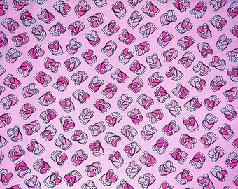 "Fabric 100% cotton, pink hearts on a pink background, 100cm (1 m) (39 "")"