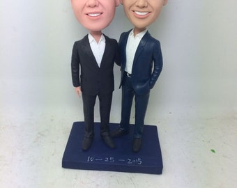 Gay Male Custom Wedding Topper Personalized Gay Wedding Cake Topper Figurine Based on Customers' Photo  Gay Male Wedding Gifts Decorations