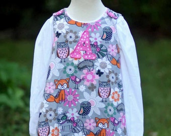 Darling, original girl's jumper, dress with woodland scene in the softest corduroy