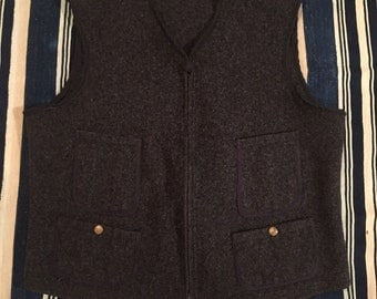 Vintage 1950s Woolrich 4 Pocket Wool Vest Size S/M Browns Beach Style