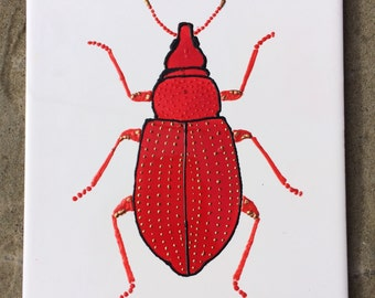 Ceramic Tile Painting, Original, Red and gold bug beetle creepie crawley insect plaque