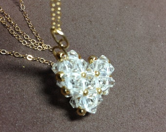 SALE !!! Crystal Heart pendant in Gold fill chain....
