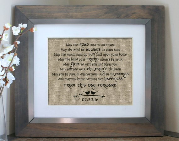 Wedding Gift Ideas For Bride Ireland : Irish Blessing on Burlap Irish Wedding Gift Personalized Irish ...
