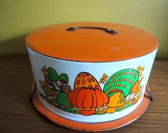 Vintage 60s 70s Mushroon Cake Tin / Lovely Green + Orange & Mushroon Best Combinations!!!