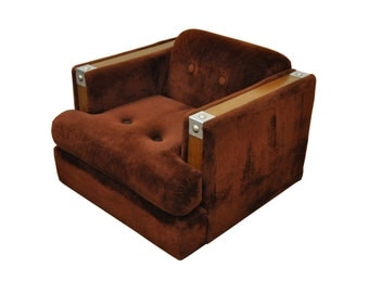 Vintage Mid Century Modern Karpen Cube Chrome Club Lounge Chair Milo Baughman Style