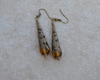 Victorian style Czech Glass Bead Tear Drop Honey Amber Filigree Earrings