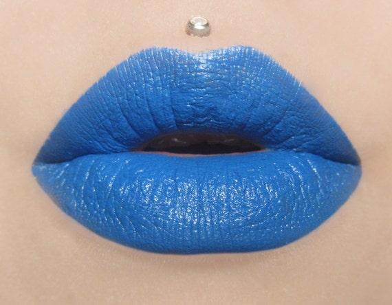 Wander Semi Matte Bright Blue Lipstick by BeautyUndead on Etsy