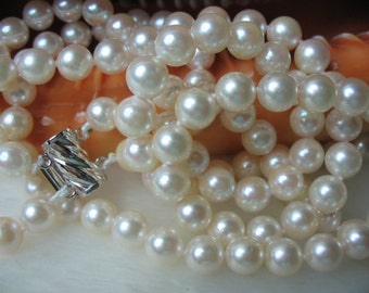 Two Strand AAA White Cultured Akoya Pearl Necklace -nk37