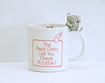 Hippo Mug, The Best Diets Let You Cheat, Diet Humor, Healthy Eating, Weight Loss, Muggamals, Applause, Lollipop, Coffee, Tea, 1980s, Vintage
