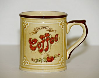 Fine Quality Country Kitchen Coffee Mug, Asake, Made in Japan, Filigree, Veggies, Quaint, Rustic, Vintage, Tea, Latte, Hot Chocolate, Kitsch