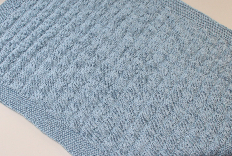 Hand Knitting Merino Wool Blanket : Hand knitted merino wool baby blanket blue