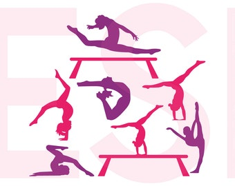 Gymnast silhouettes, Gymnastics, Design files, SVG, DXF, EPS, Vinyl cut files, use with Silhouette Studio and Cricut Design space.