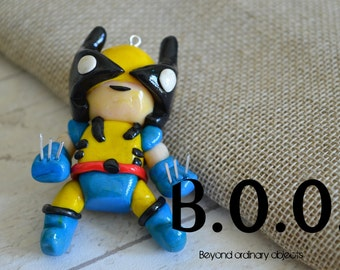 Polymer Clay Charm Necklace Charm - Retro Wolverine