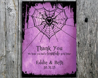 Halloween Wedding Thank You Card with Spider and Web - Printable Wedding Thank You Card