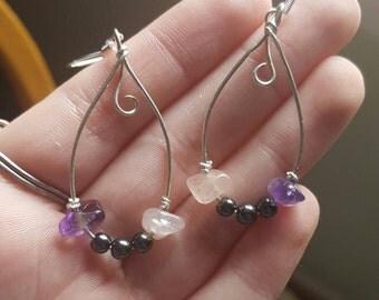 Amethyst and rose quartz dangle earrings