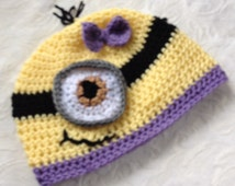 Girl Minion beanie hat, any size, made to order, baby to adult minion hat, one eyed minion hat, two eyed minion hat purple trim