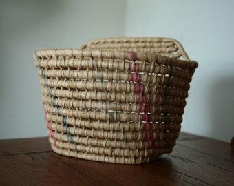 Vintage Bike Basket - Native woven bike basket - pink and blue stripe natural wood bike basket