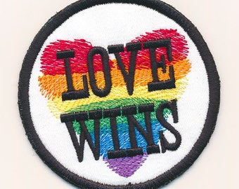 "Love Wins rainbow heart iron on patch.  3"""
