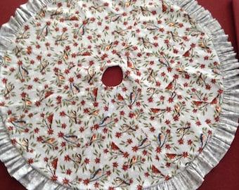 Snow birds Christmas tree skirt