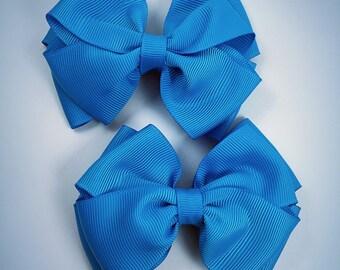 Turquoise piggy set hair bows