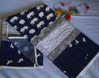White/Dusk Bears with Grey and Cream Panel Quilt