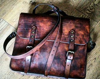 Leather Messenger bag vintage style. Rustic brown color and patina effect.Hand made