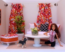 Barbie/Blythe Doll- Dollhouse Curtains, Pillows, Ottoman in 1:6 scale. Orange and Black Accessories